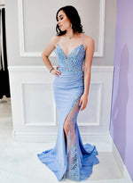 Blue v neck lace long prom dress mermaid evening dress
