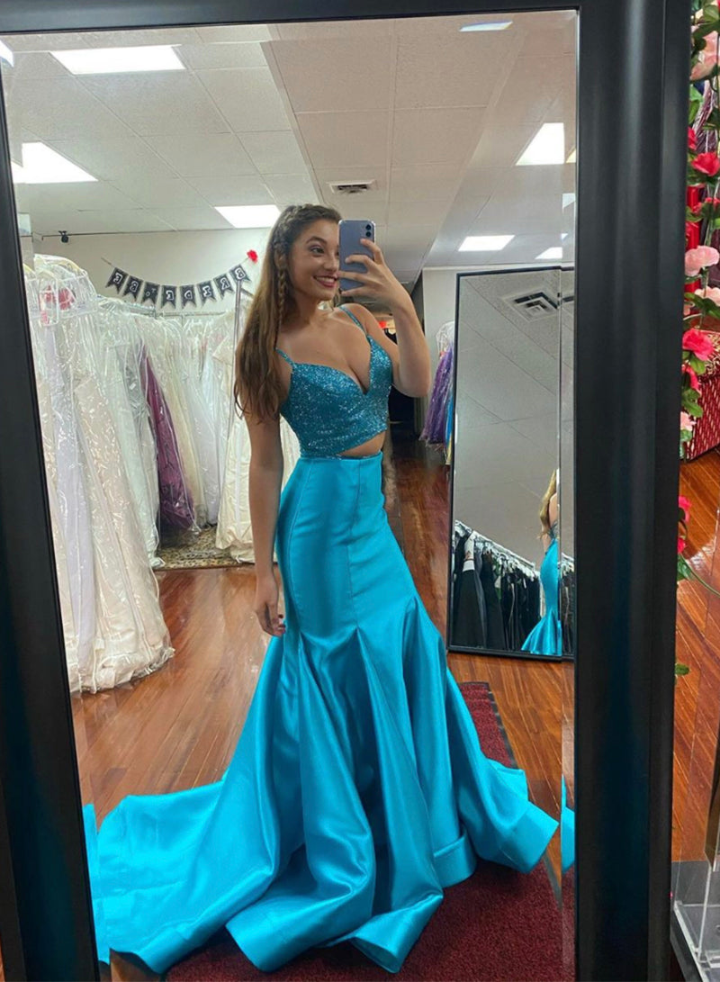 Blue satin prom dress two pieces evening dress