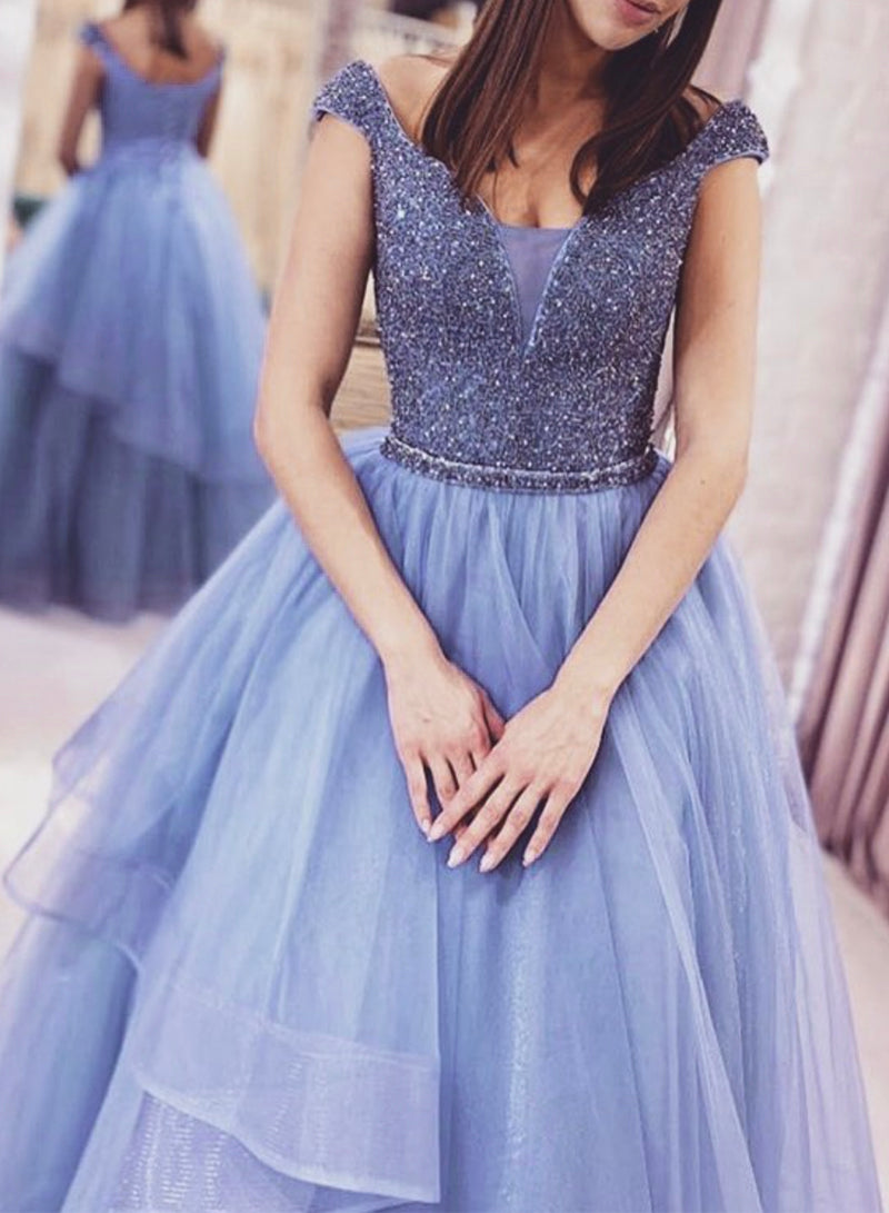 Blue tulle beads long prom gown formal dress