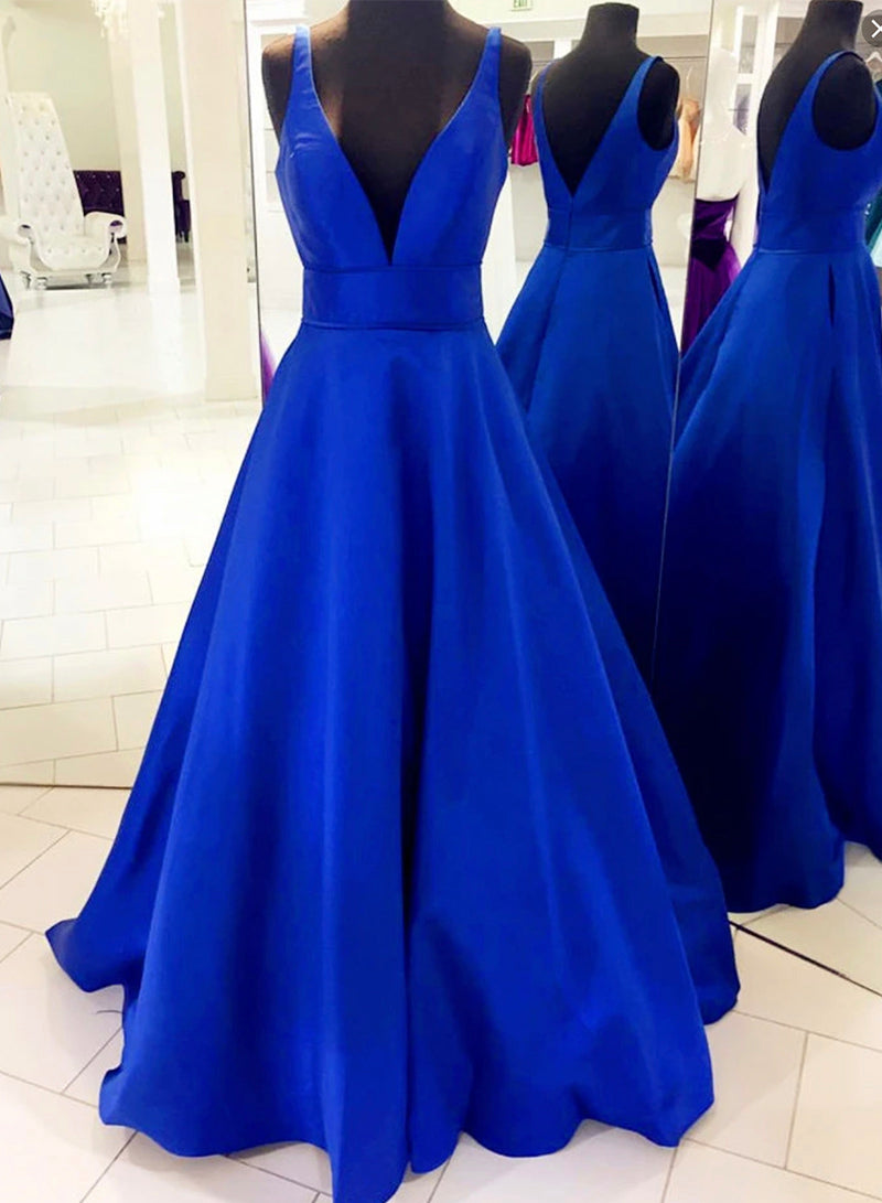 Royal blue satin prom dress evening dress