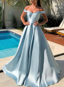 Blue satin long prom dress blue evening dress
