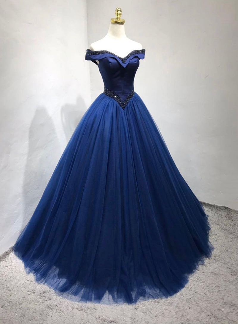 Blue tulle long prom gown blue evening dress