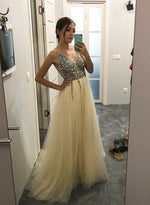Champagne v neck tulle long prom dress