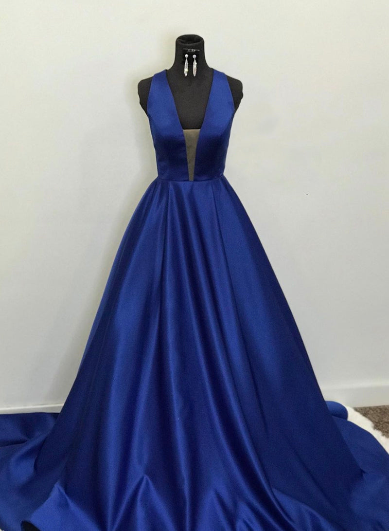 Blue v neck satin long prom dress blue evening dress
