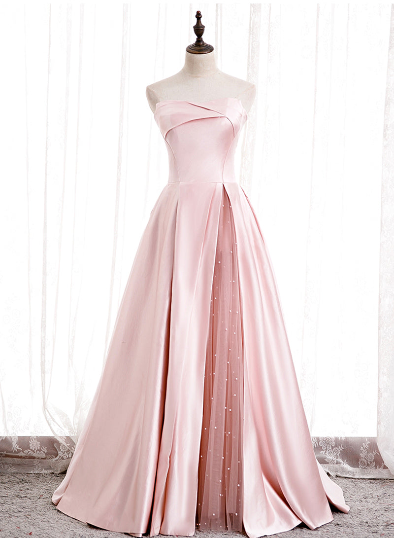 Pink satin long prom dress pink evening dress