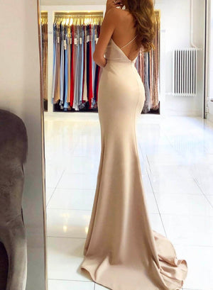 Simple long prom dress mermaid evening dress