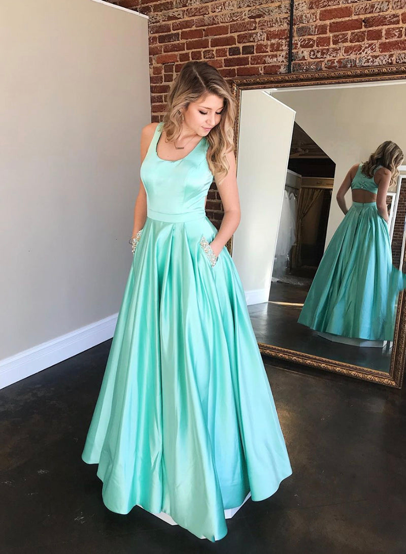 Simple round neck satin long prom dress