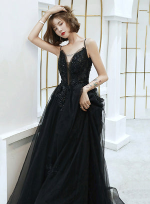 Black tulle lace long prom dress evening dress