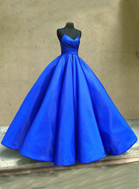 Blue A line v neck long prom gown, evening dresses