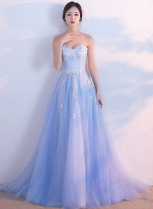 Blue sweetheart neck tulle long prom dress, lace evening dress