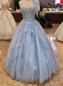 Blue sweetheart neck tulle lace long prom dress, evening dress