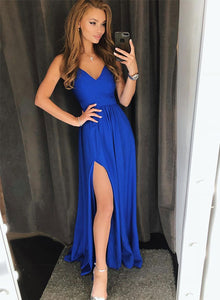 Simple blue v neck short prom dress, blue evening dress