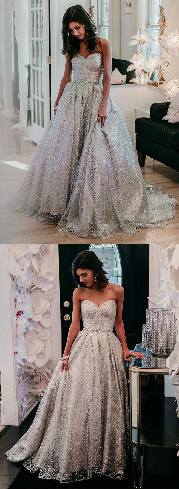Silver sweetheart neck sequins long prom dress, evening dress