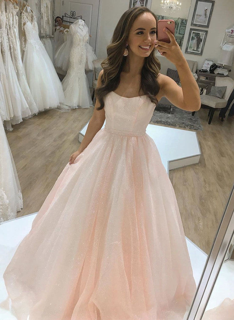 Cute pink long a line prom dress pink evening dress