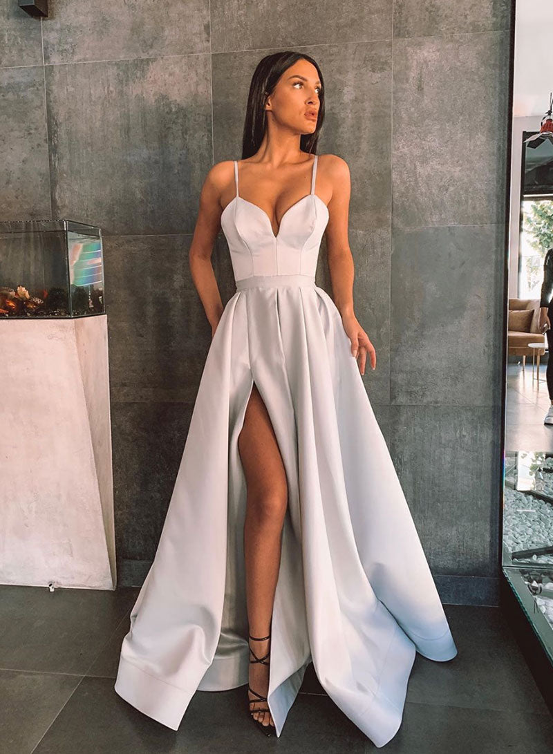 Simple satin long prom dress simple evening dress