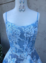 Blue A line tulle lace long prom dress, blue evening dress