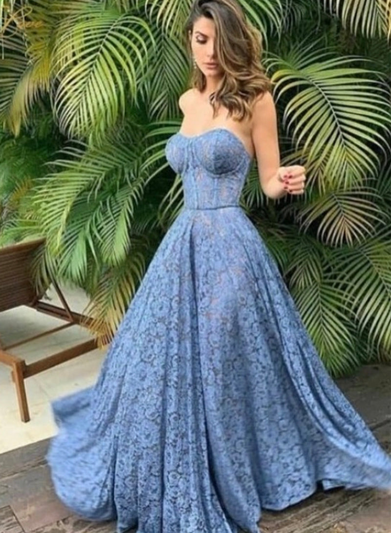 Blue lace long prom dress blue evening dress