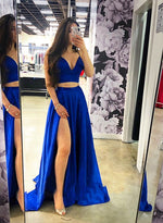 Blue two pieces long prom dress, simple evening dress