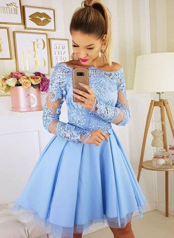 Cute blue tulle lace short prom dress, homecoming dress