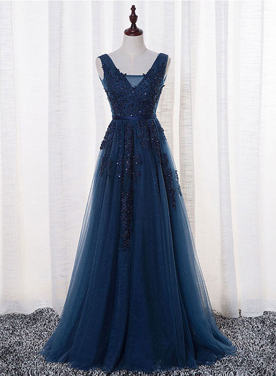 Blue dark lace prom dress best photo