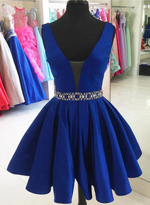 Cute blue v neck short prom dress, homecoming dress