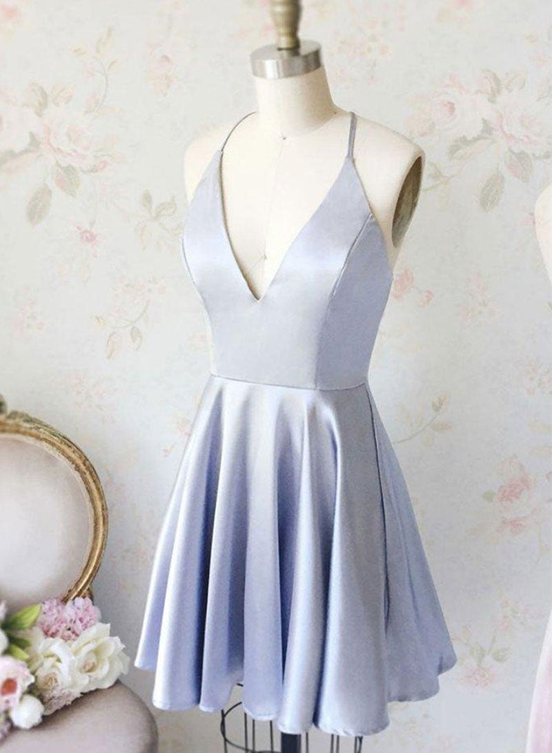 Simple blue v neck satin short prom dress, homecoming dress