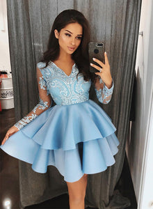 Blue v neck lace short prom dress, long sleeve evening dress