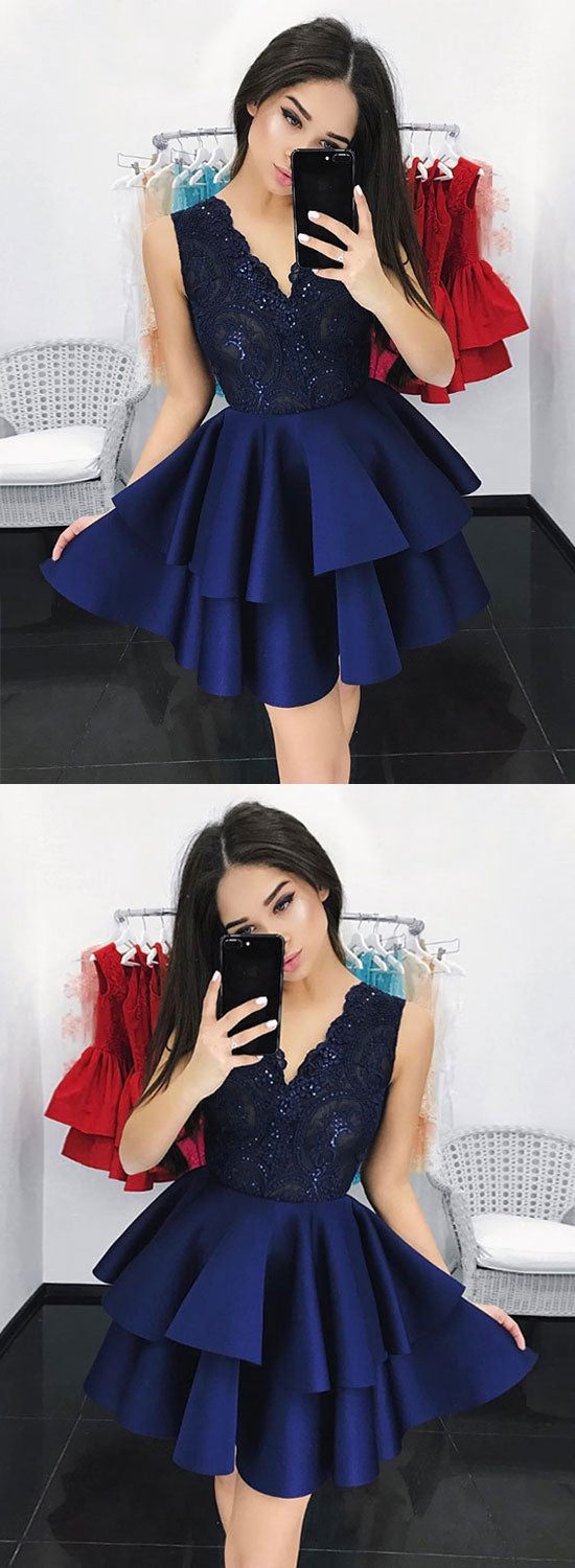 Dark blue v neck lace short prom dress, homecoming dress
