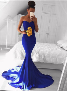 Mermaid royal blue sweet neck long prom dress, simple evening dress