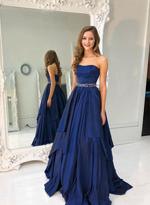 Dark blue satin long prom dress, evening dress