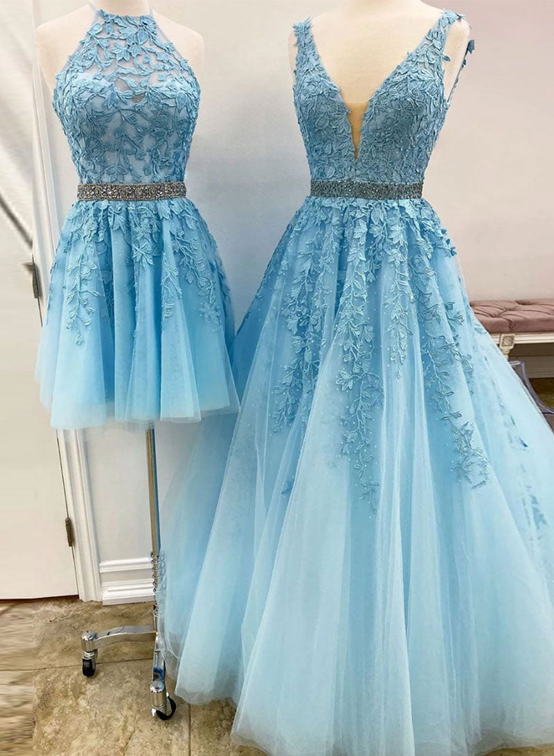 Blue tulle lace prom dress evening dress