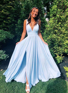 Simple blue v neck long prom dress, evening dress