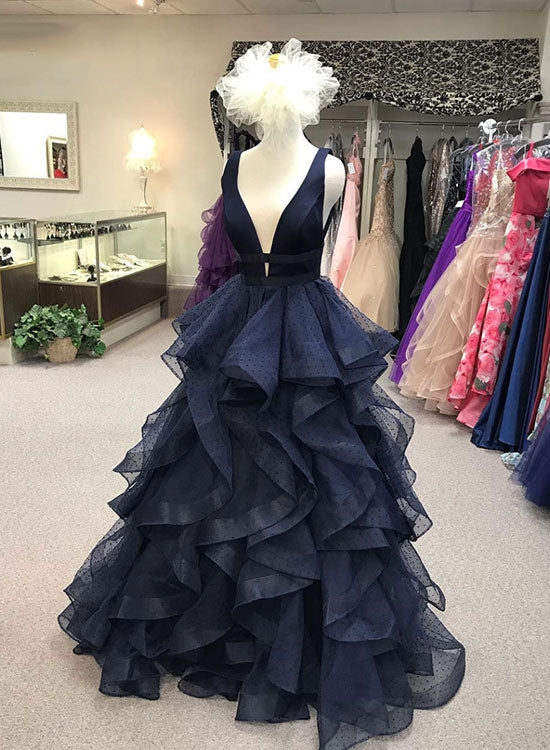 Dark blue v neck long prom dress, blue evening dress