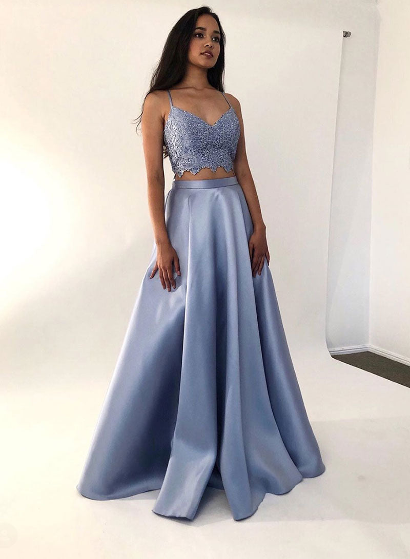 Blue two pieces long prom dress lace evening dress