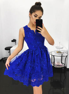 Cute blue v neck lace short prom dress, homecoming dress