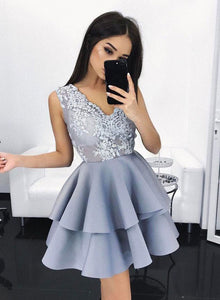 Charming blue lace short prom dress, cute homecoming dress