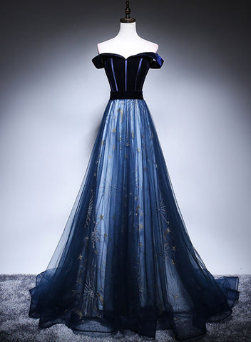 Dark blue velvet tulle long prom dress, evening dress