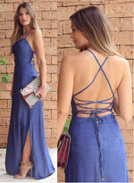 Simple A line blue long prom dress, blue evening dress