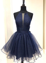 Cute blue tulle short prom dress homecoming dress