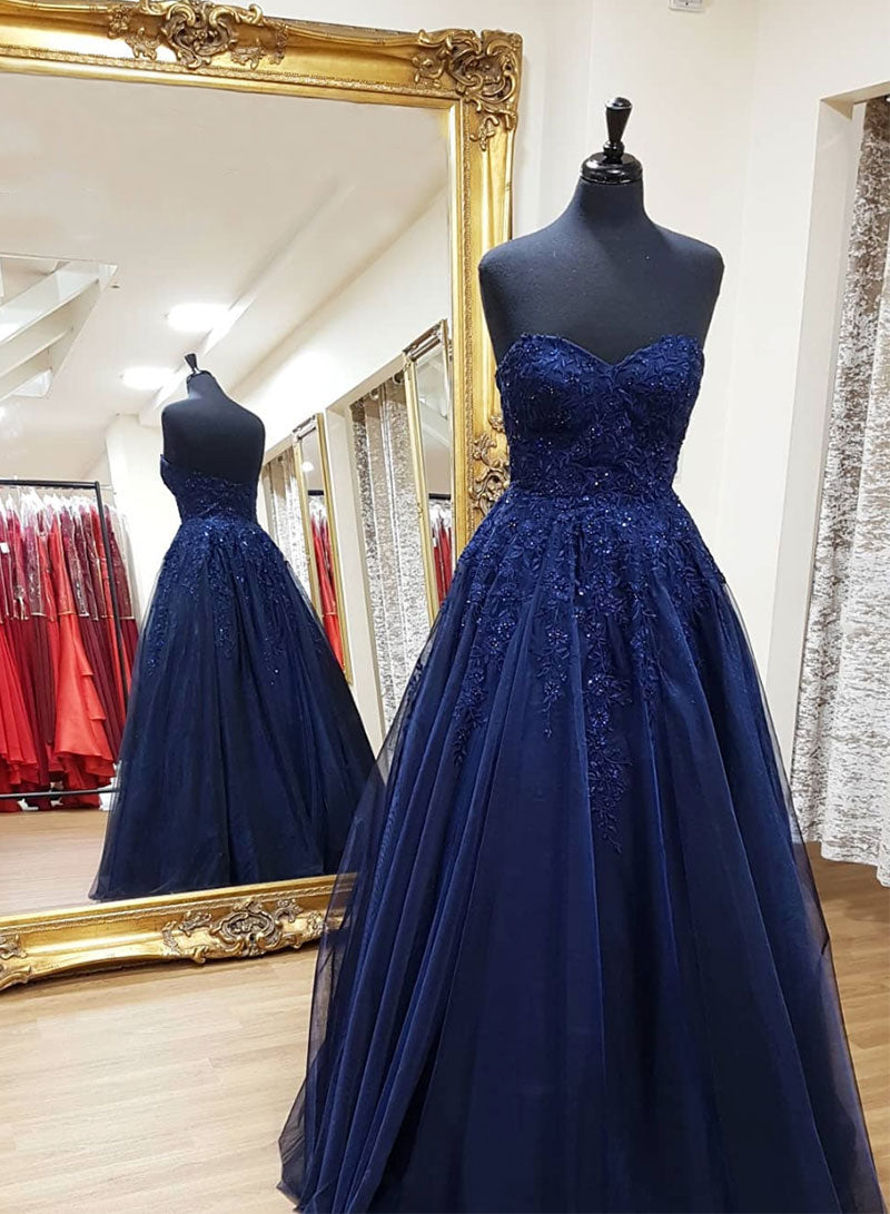 Blue tulle lace long prom dress lace evening dress