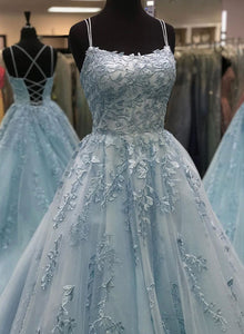 Blue tulle lace long prom dress, blue evening dress