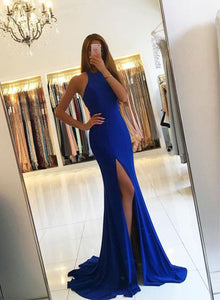 Simple mermaid blue long prom dress, blue evening dress