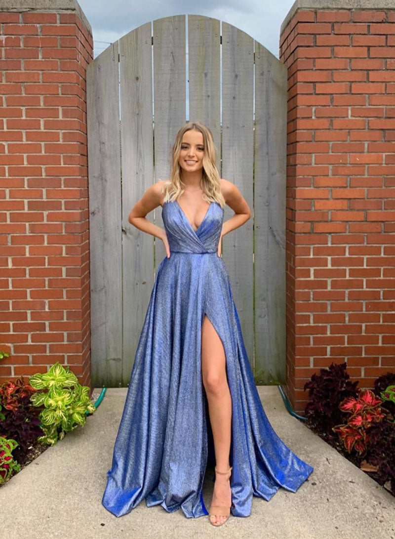 Blue v neck long a line prom dress party dress