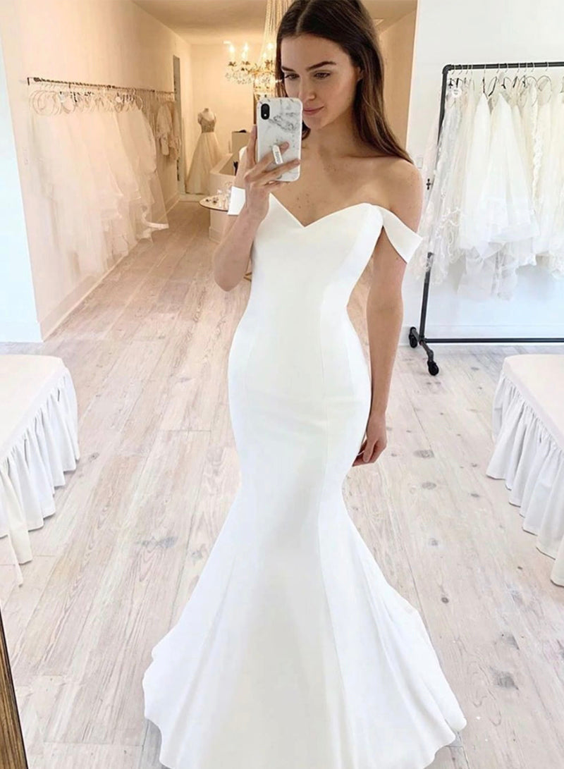 White mermaid long prom dress evening dress