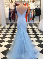 Sky blue sequins tulle long prom dress, evening dress