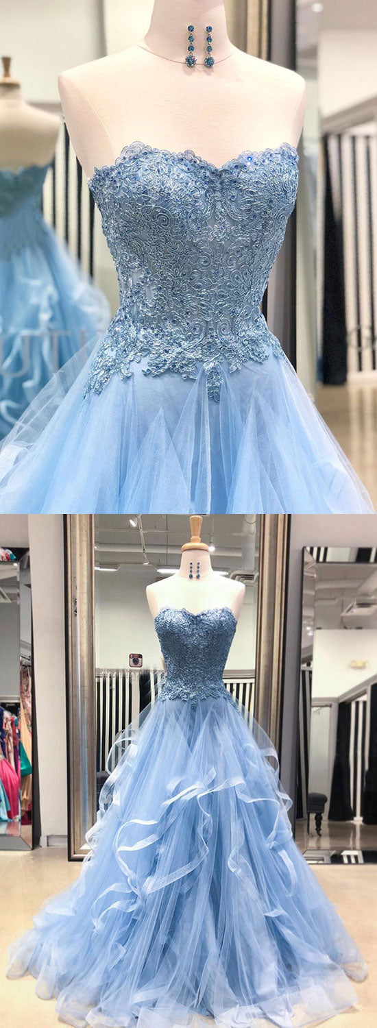 Light blue lace tulle long prom dress, blue evening dress