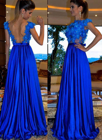 Blue round neck applique long prom dress, evening dress