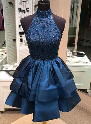 Blue short prom dress, homecoming dress