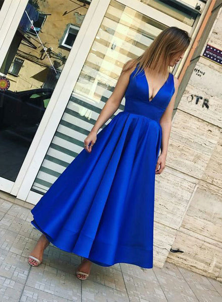 Simple royal blue v neck prom dress, tea length evening dress