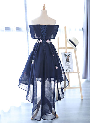 Dark blue applique off shoulder short prom dress, high low evening dress